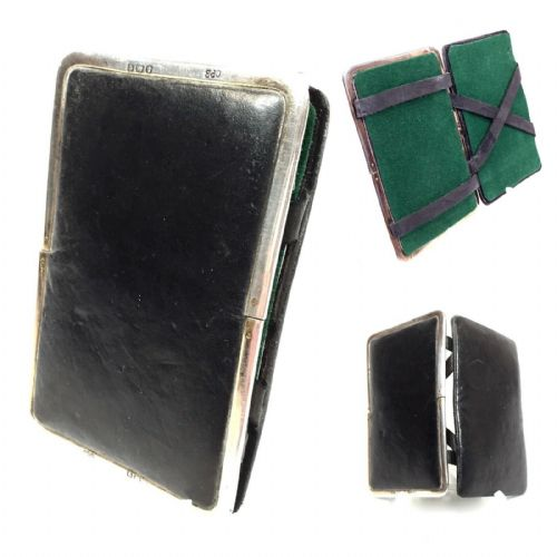 Antique Leather & Silver Wallet / Gentleman's Magic Card Case / Birmingham 1918